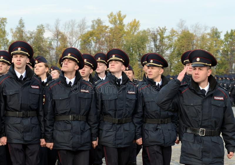 In the parade of police cadets on Poklonnaya hill in Moscow royalty free stock photography