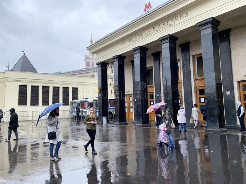 Moscow, Russia, October, 12, 2019. People walking near ground lobby of the metro station `Revolution Square` and `Teatralnaya` in stock photos