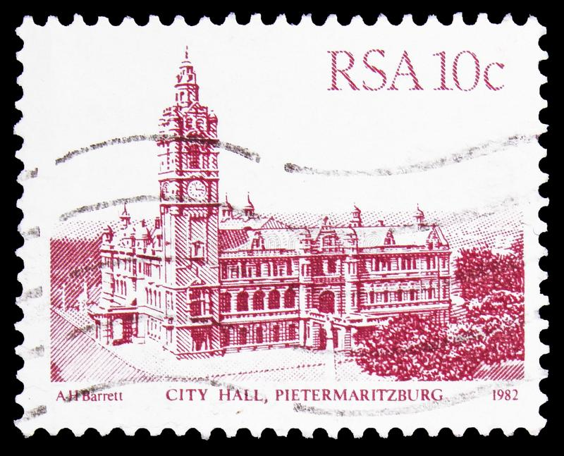 Postage stamp printed in South Africa shows City Hall, Pietermaritzburg, Definitive Issue - Buildings serie, circa 1983. MOSCOW, RUSSIA - OCTOBER 1, 2019 stock photo
