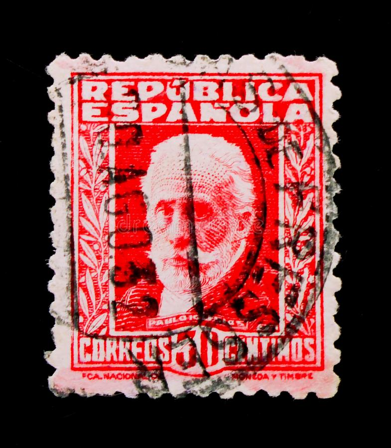 Pablo Iglesias, Famous people serie, circa 1932. MOSCOW, RUSSIA - OCTOBER 1, 2017: Rare stamp printed in Spain shows Pablo Iglesias, Famous people serie, circa stock photo