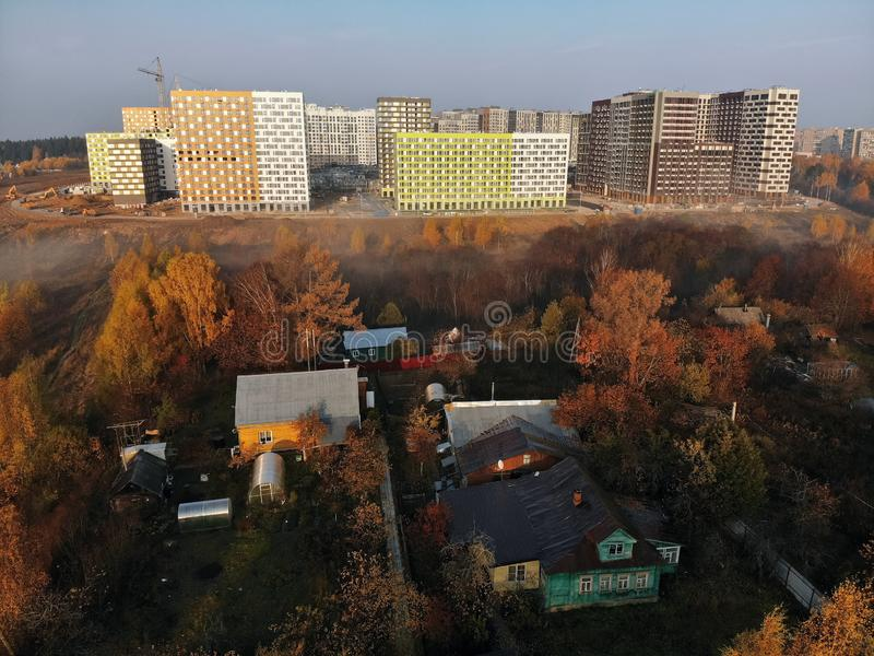 Moscow, Russia - October 19. 2018. Residential buildings built PIK is largest construction companies in Russia. Moscow, Russia - October 19. 2018. Residential stock image