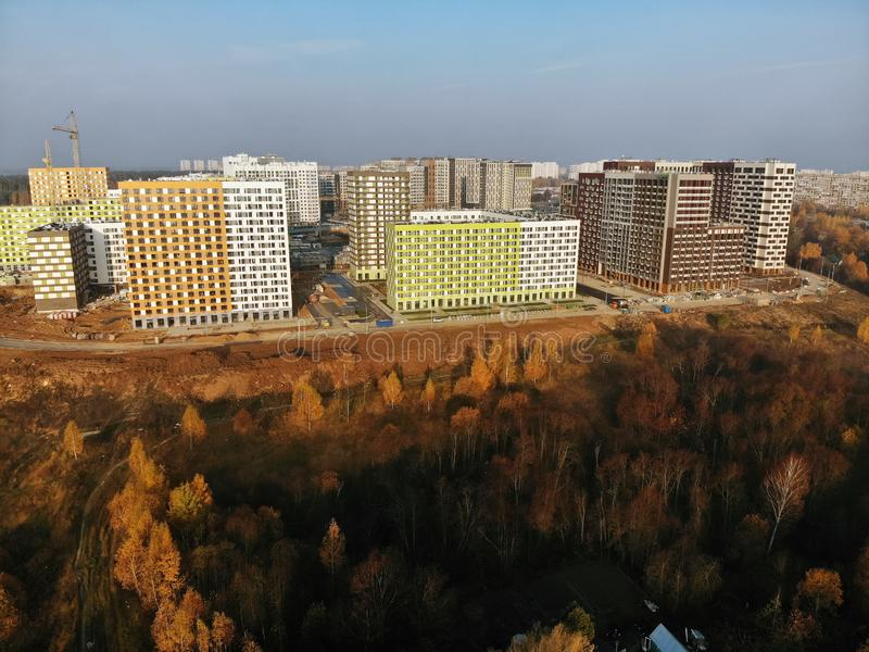 Moscow, Russia - October 19. 2018. Residential buildings built PIK is largest construction companies in Russia. Moscow, Russia - October 19. 2018. Residential royalty free stock image