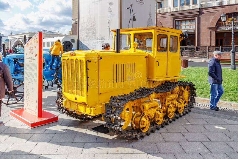 Moscow, Russia - October 08, 2019: Restored soviet arable crawler tractor with diesel engine DT-54. Exhibition of agricultural royalty free stock images