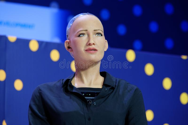 Sophia humanoid robot at Open Innovations Conference at Skolokovo technopark. Moscow, Russia - October 16, 2017: Sophia humanoid robot speaking Russian at Open stock photos