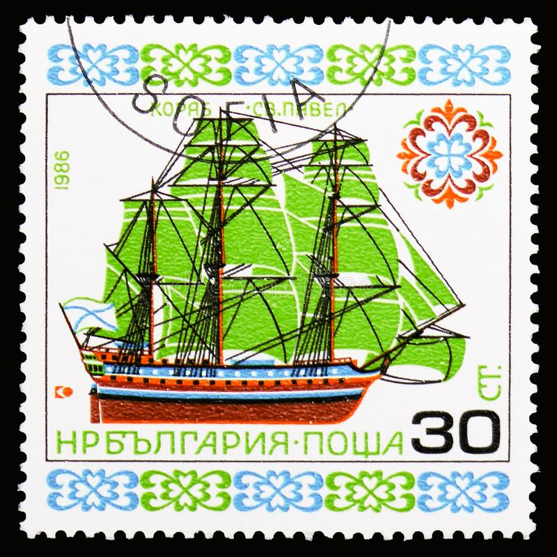 'Saint Paul ', Historic Ships (V) serie, circa 1986. MOSCOW, RUSSIA - OCTOBER 6, 2018: A stamp printed in Bulgaria shows 'Saint Paul ', Historic Ships (V) serie royalty free stock photography