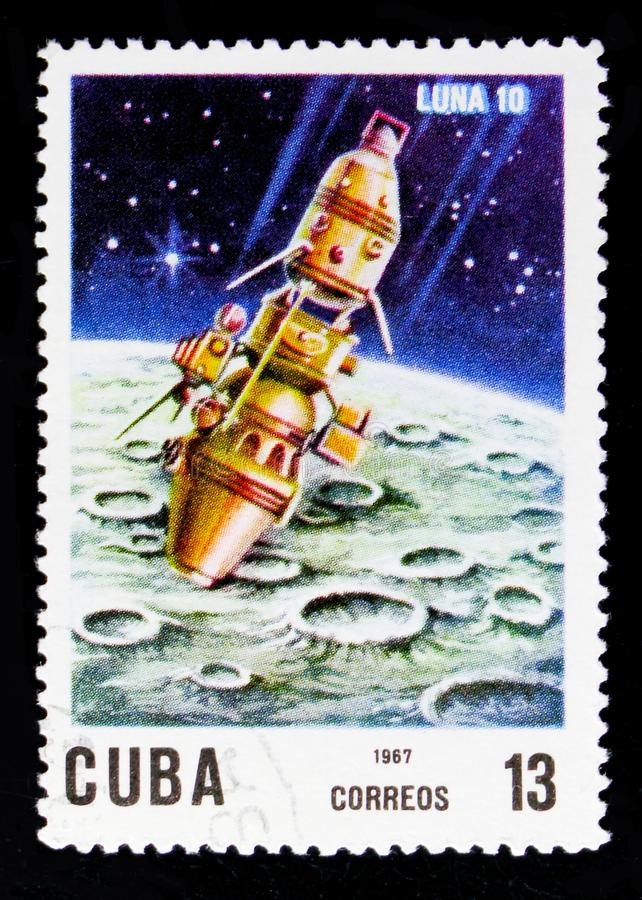 Luna 10, 10th Ann. Of The Launch Of The First Artificial Satellite serie, circa 1967 royalty free stock photography