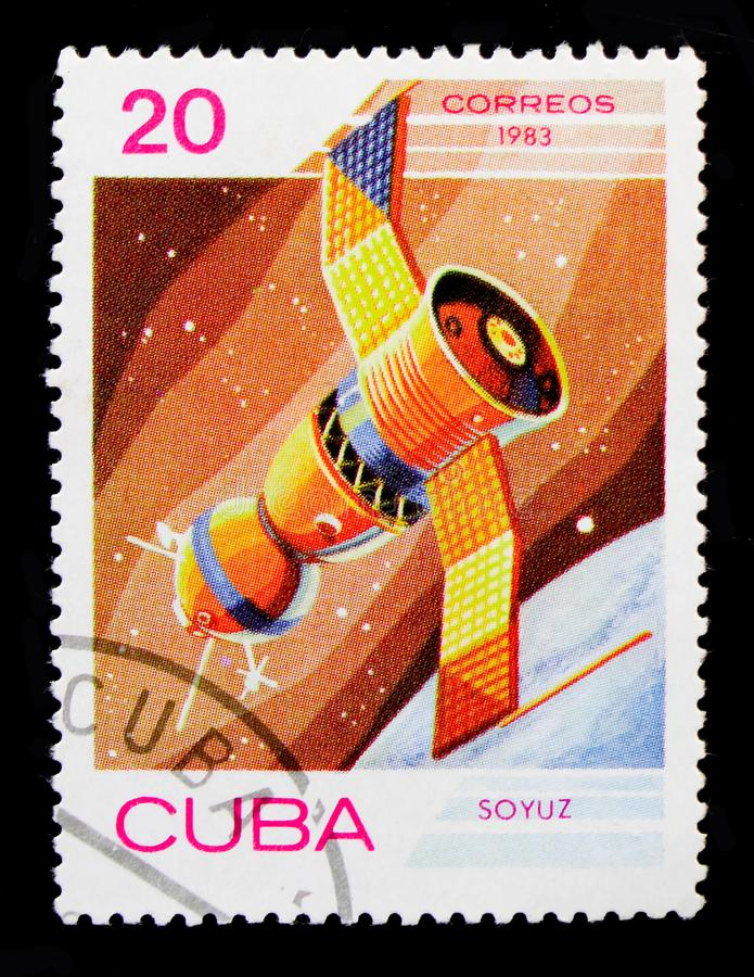 Spaceship `Soyuz` USSR, Space day serie, circa 1983. MOSCOW, RUSSIA - OCTOBER 1, 2017: A stamp printed in Cuba shows Spaceship `Soyuz` USSR, Space day serie royalty free stock photography