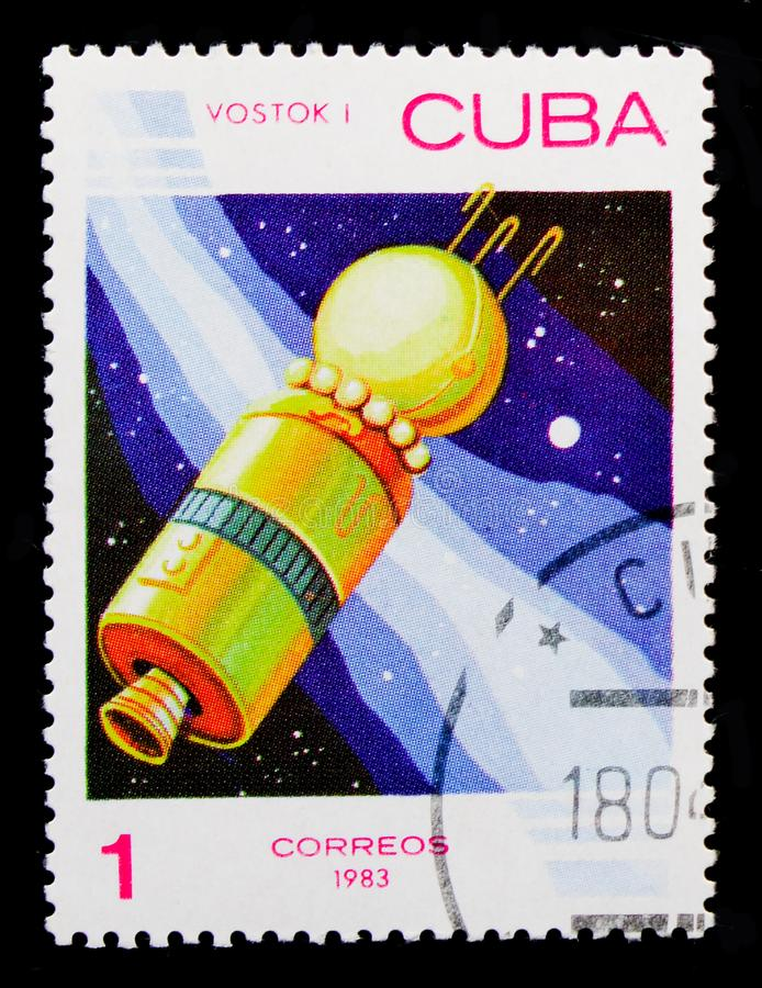 Spaceship `Vostok` USSR, 1961, Space day serie, circa 1983. MOSCOW, RUSSIA - OCTOBER 1, 2017: A stamp printed in Cuba shows Spaceship `Vostok` USSR, 1961, Space royalty free stock photo