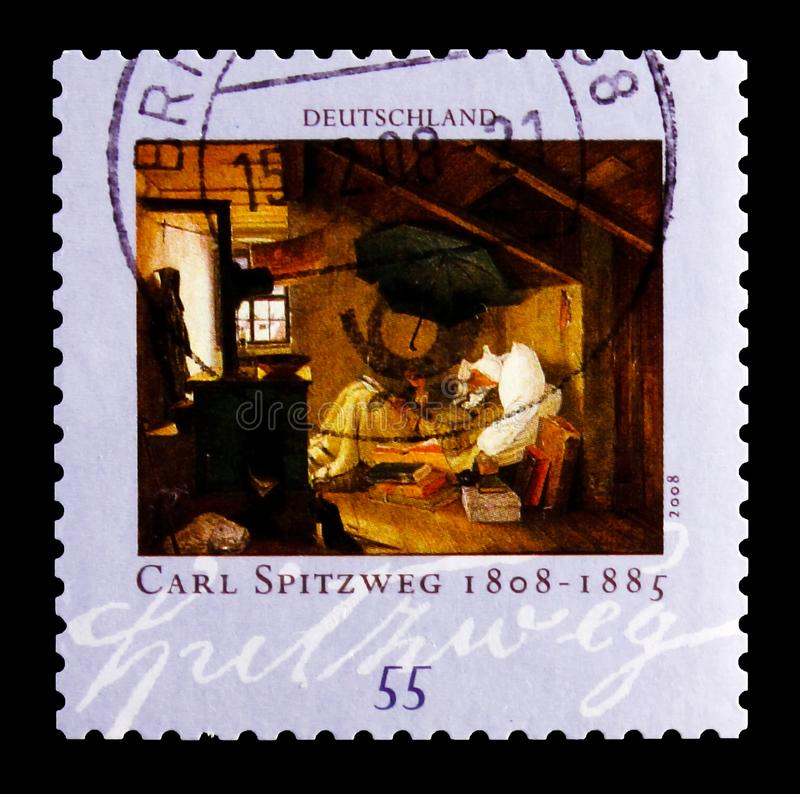 MOSCOW, RUSSIA - OCTOBER 21, 2017: A stamp printed in German Fed. Eral Republic shows The poor Poet; Painting by Carl Spitzweg (1808-1885), 200th birthday of royalty free stock photos