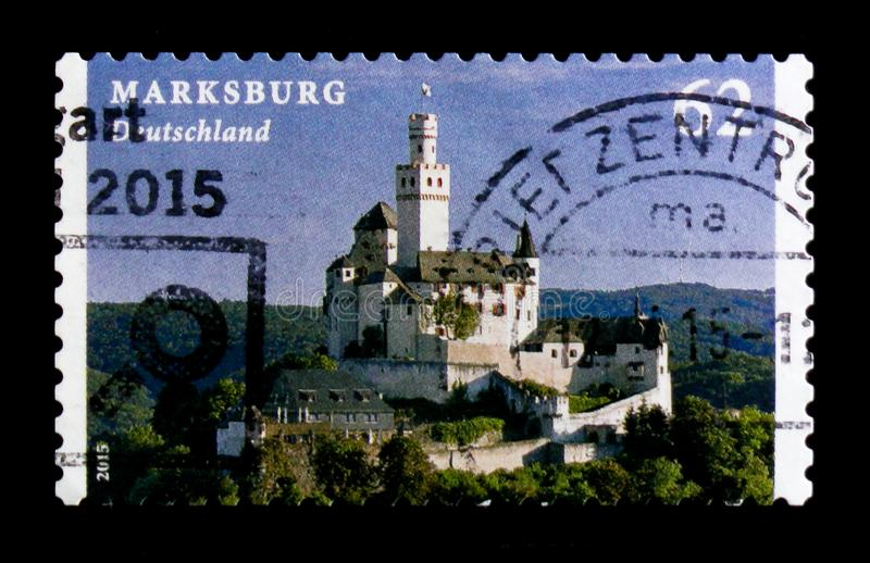 MOSCOW, RUSSIA - OCTOBER 21, 2017: A stamp printed in German Fed. Eral Republic shows Marksburg, Castles and Palaces serie, circa 2015 stock photo