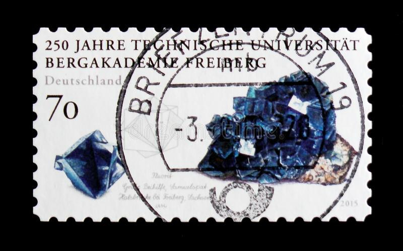 MOSCOW, RUSSIA - OCTOBER 21, 2017: A stamp printed in German Fed. Eral Republic shows Fluorite, Mining Academy in Freiberg serie, circa 2015 royalty free stock photography