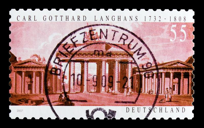 MOSCOW, RUSSIA - OCTOBER 21, 2017: A stamp printed in German Fed. Eral Republic shows Brandenburg Gate, Berlin, 275th Birth Anniv. of Carl Gotthard Langhans stock image