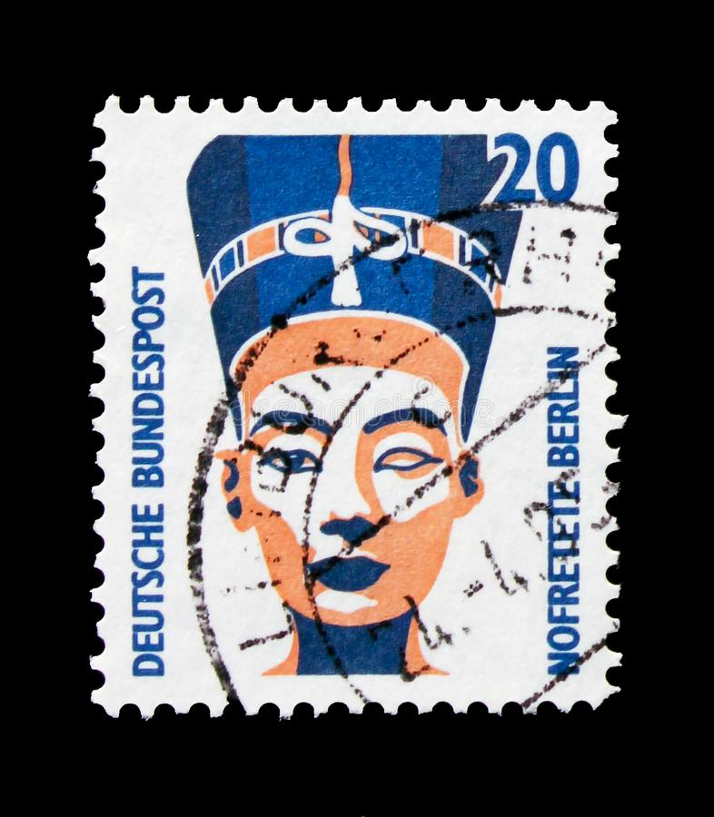 MOSCOW, RUSSIA - OCTOBER 21, 2017: A stamp printed in German Fed. Eral republic shows Nefertiti bust, Berlin, Sights serie, circa 1989 royalty free stock photo