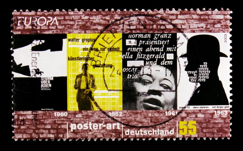 MOSCOW, RUSSIA - OCTOBER 21, 2017: A stamp printed in German Fed. Eral Republic shows C.E.P.T poster art, serie, circa 2003 royalty free stock images
