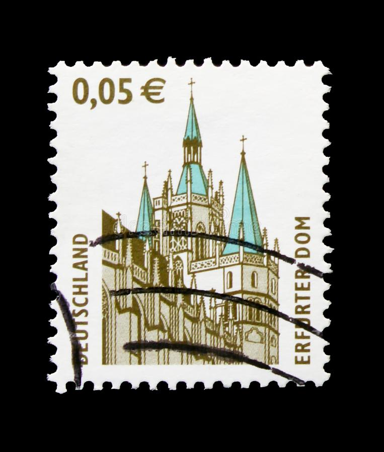 MOSCOW, RUSSIA - OCTOBER 21, 2017: A stamp printed in German Fed. Eral republic shows Erfurt, Sights serie, circa 2004 stock photography