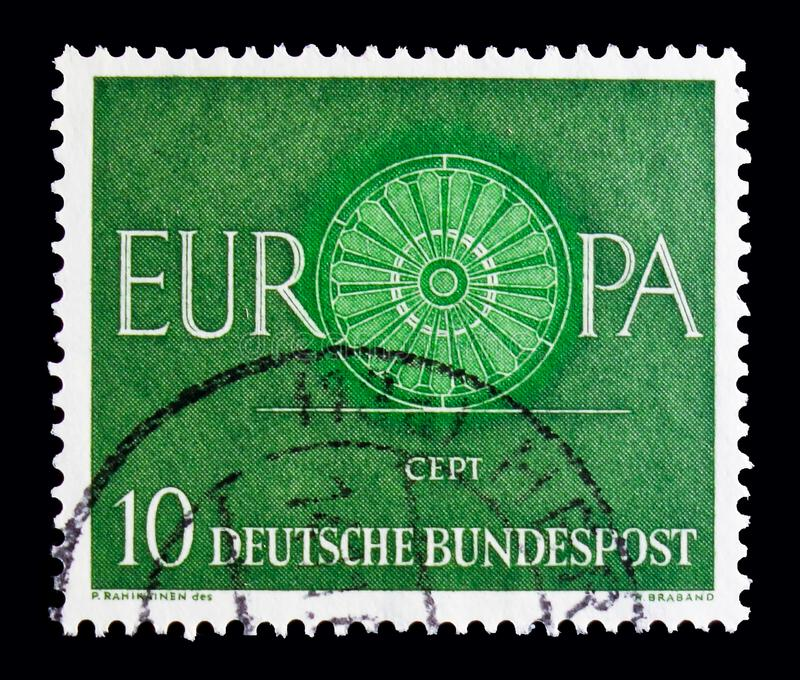 MOSCOW, RUSSIA - OCTOBER 21, 2017: A stamp printed in German Fed. Eral republic shows Europa, Europa (C.E.P.T.) 1960 - Wheel serie, circa 1960 stock photography