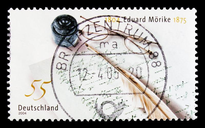 MOSCOW, RUSSIA - OCTOBER 21, 2017: A stamp printed in German Fed. Eral Republic devoted to Birth Bicentenary of Eduard Morike, serie, circa 2004 stock photo