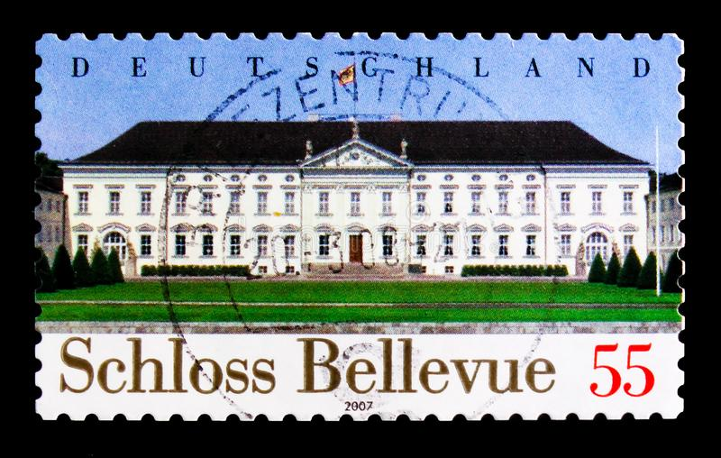 MOSCOW, RUSSIA - OCTOBER 21, 2017: A stamp printed in German Fed. Eral Republic shows Bellevue Castle, Berlin, Bellevue Castle - Office of the Federal President royalty free stock image