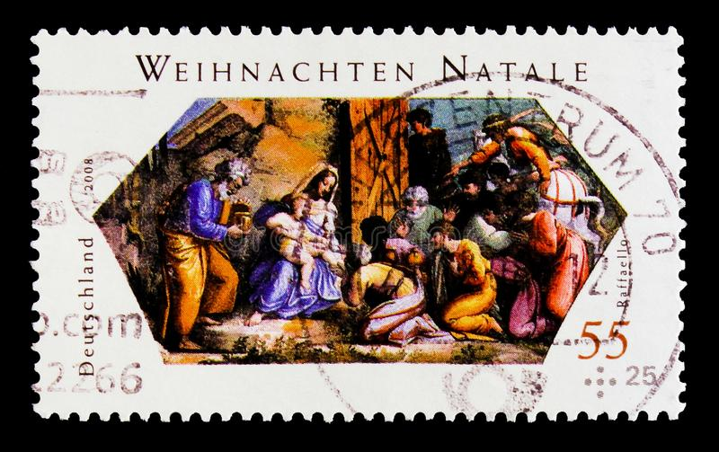 MOSCOW, RUSSIA - OCTOBER 21, 2017: A stamp printed in German Fed. Eral Republic shows Bible scene, Christmas 2008 serie, circa 2008 stock images