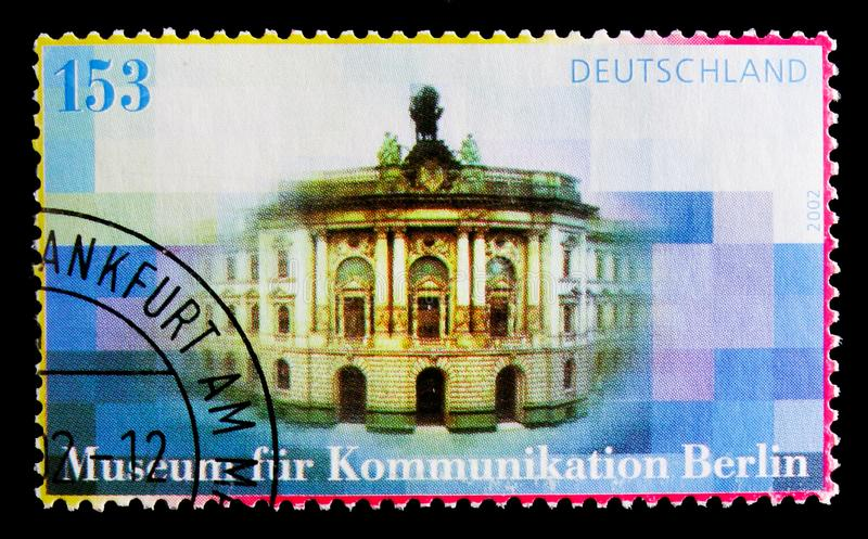 Communications Museum, Berlin, 130th Anniversary serie, circa 2002. MOSCOW, RUSSIA - OCTOBER 21, 2017: A stamp printed in German Federal Republic shows stock photo