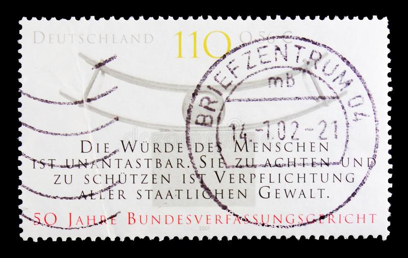 Court of Justice, 50th Anniv. of Federal Constitutional Court serie, circa 2001. MOSCOW, RUSSIA - OCTOBER 21, 2017: A stamp printed in German Federal Republic royalty free stock images