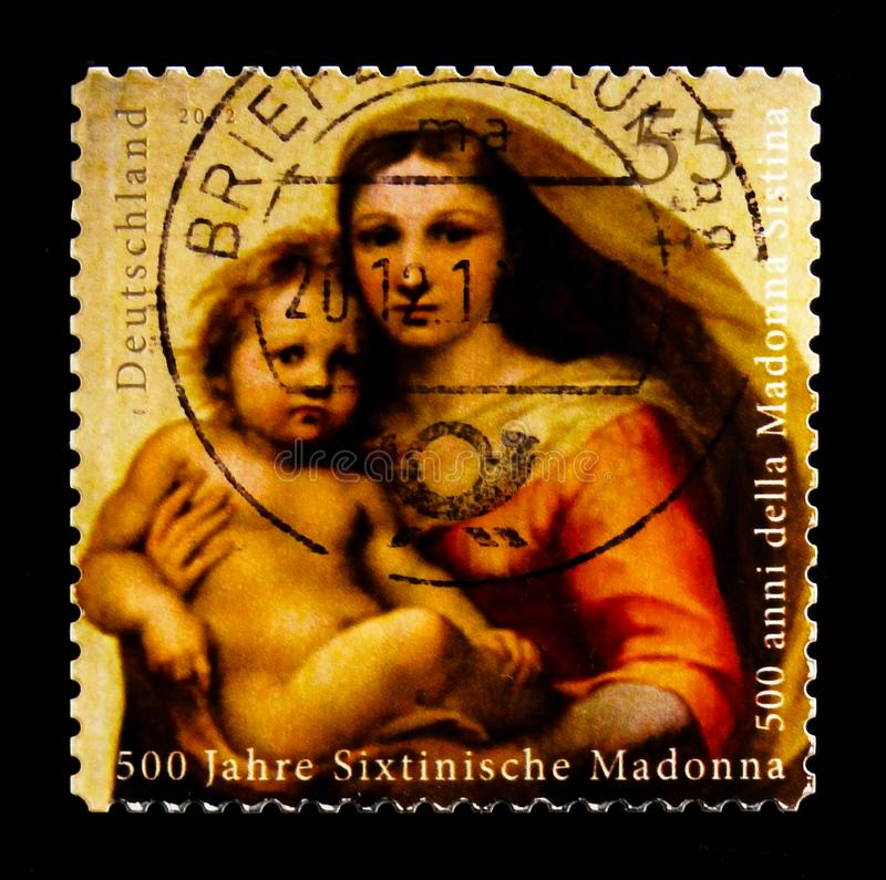 MOSCOW, RUSSIA - OCTOBER 21, 2017: A stamp printed in German Fed. Eral Republic shows Sistine Madonna, serie, circa 2012 stock photo