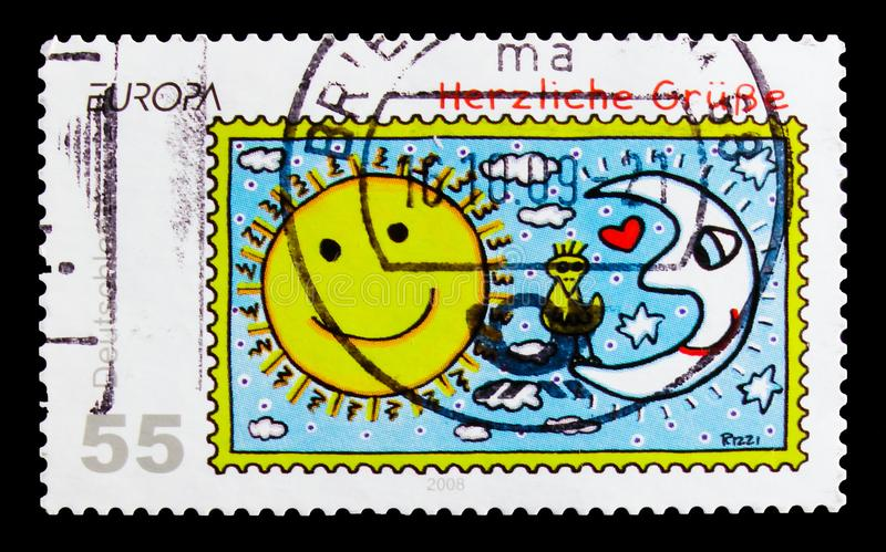 Sun and Moon, Kind Regards, Greeting Stamps serie, circa 2008. MOSCOW, RUSSIA - OCTOBER 21, 2017: A stamp printed in German Federal Republic shows Sun and Moon royalty free stock image