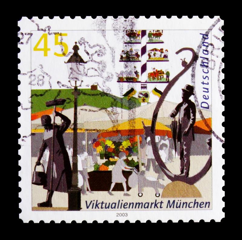 MOSCOW, RUSSIA - OCTOBER 21, 2017: A stamp printed in German Fed. Eral Republic shows Viktualienmarkt, Munich, Pictures of German cities serie, circa 2003 royalty free stock photos