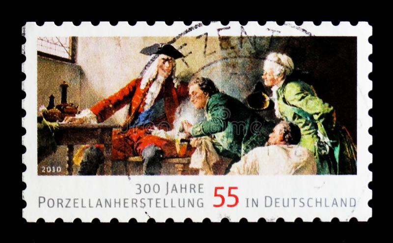 MOSCOW, RUSSIA - OCTOBER 21, 2017: A stamp printed in German Fed. Eral Republic shows 300 years of Porcelain Production in Europe, serie, circa 2010 stock image