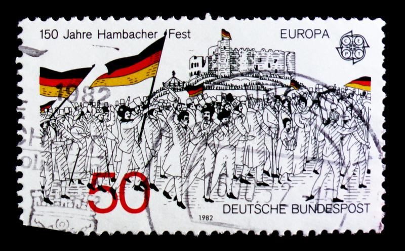 MOSCOW, RUSSIA - OCTOBER 3, 2017: A stamp printed in Germany Fed. Eral Republic shows 150th anniversary of the Hambach Festival, Europa (C.E.P.T.) 1982 royalty free stock image