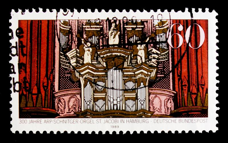 MOSCOW, RUSSIA - OCTOBER 3, 2017: A stamp printed in Germany Fed. Eral Republic shows Arp-Schniter organ, 300th Anniversary of Arp Schnitger Organ, Hamburg serie royalty free stock photo