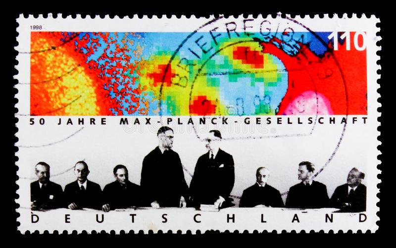 MOSCOW, RUSSIA - OCTOBER 3, 2017: A stamp printed in Germany Fed. Eral Republic shows Max Planck Society, 50th Anniversary of Max Plank Society for the royalty free stock image