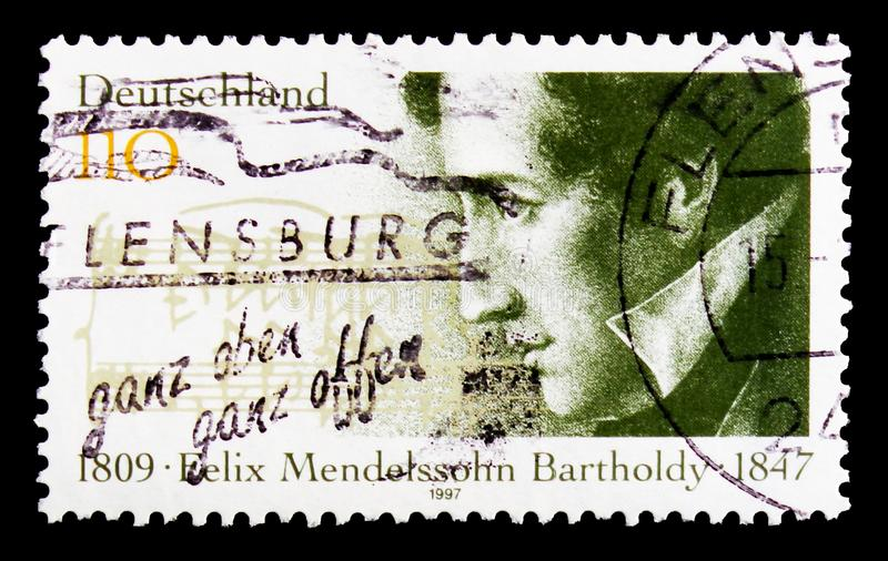 Portrait of Felix Mendelssohn Bartholdy, 150th Death Anniversary serie, circa 1997. MOSCOW, RUSSIA - OCTOBER 3, 2017: A stamp printed in Germany Federal Republic royalty free stock images