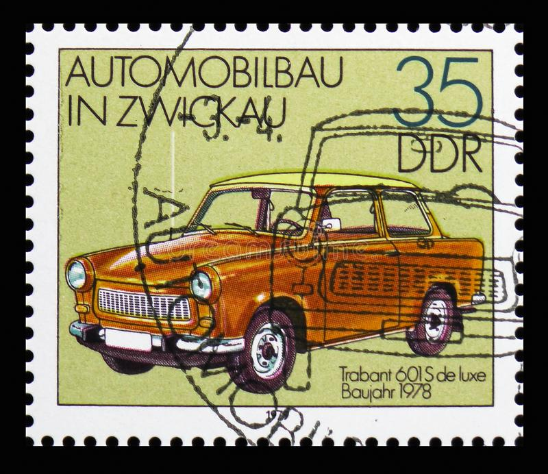 Trabant 601 S de luxe (1978), Automobile In Zwickau serie, circa 1979. MOSCOW, RUSSIA - OCTOBER 21, 2018: A stamp printed in Germany shows Trabant 601 S de luxe stock images