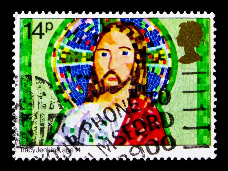 Jesus Christ, by Tracy Jenkins, age 14, Christmas 1981 - Children`s Pictures serie, circa 1981. MOSCOW, RUSSIA - OCTOBER 3, 2017: A stamp printed in Great royalty free stock images