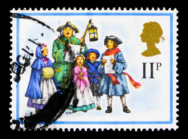 18th-century Carol Singers, Christmas 1978 serie, circa 1978. MOSCOW, RUSSIA - OCTOBER 3, 2017: A stamp printed in Great Britain shows 18th-century Carol Singers royalty free stock photo