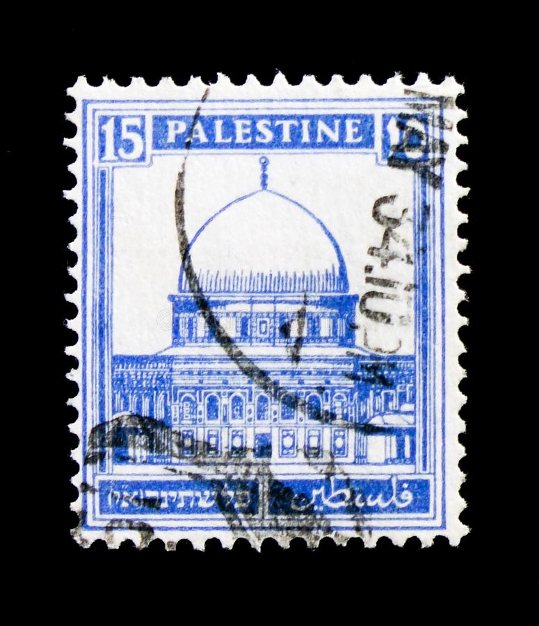 Dome of the Rock, Jerusalem, Definitive Issue `Pictorials` 1927 - 1945 serie, circa 1932. MOSCOW, RUSSIA - OCTOBER 3, 2017: A stamp printed in Palestinian royalty free stock photos