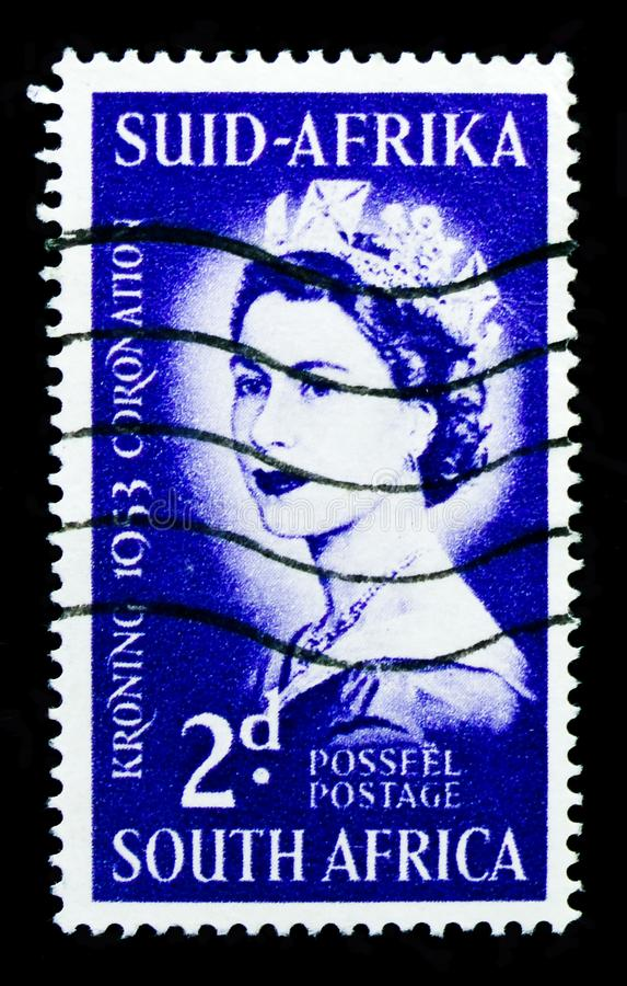 Coronation, Queens, Royalty serie, circa 1953. MOSCOW, RUSSIA - OCTOBER 1, 2017: A stamp printed in shows Coronation, Queens, Royalty serie, circa 1953 royalty free stock images