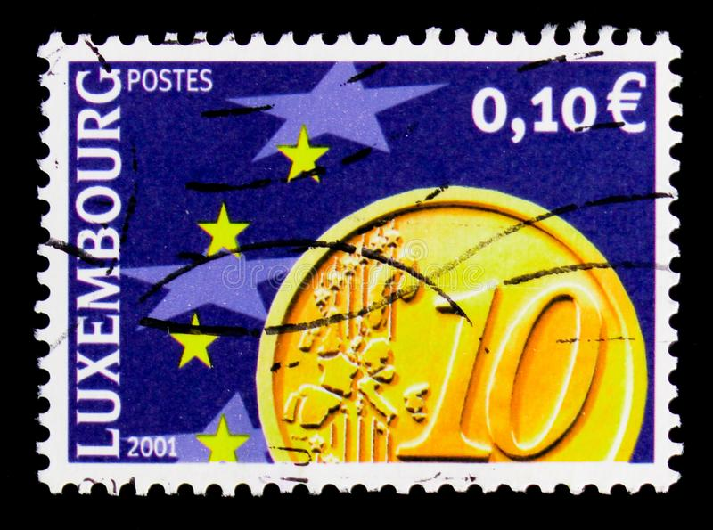 Euro Coin, serie, circa 2001. MOSCOW, RUSSIA - OCTOBER 3, 2017: A stamp printed in shows Euro Coin, serie, circa 2001 stock photo