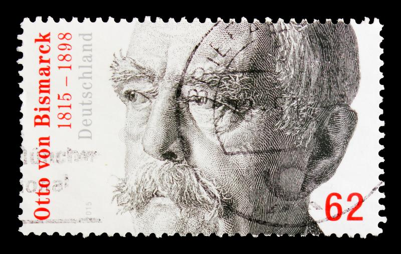 Portrait of Otto von Bismarck, serie, circa 2015. MOSCOW, RUSSIA - OCTOBER 21, 2017: A stamp printed in shows portrait of Otto von Bismarck, serie, circa 2015 stock image
