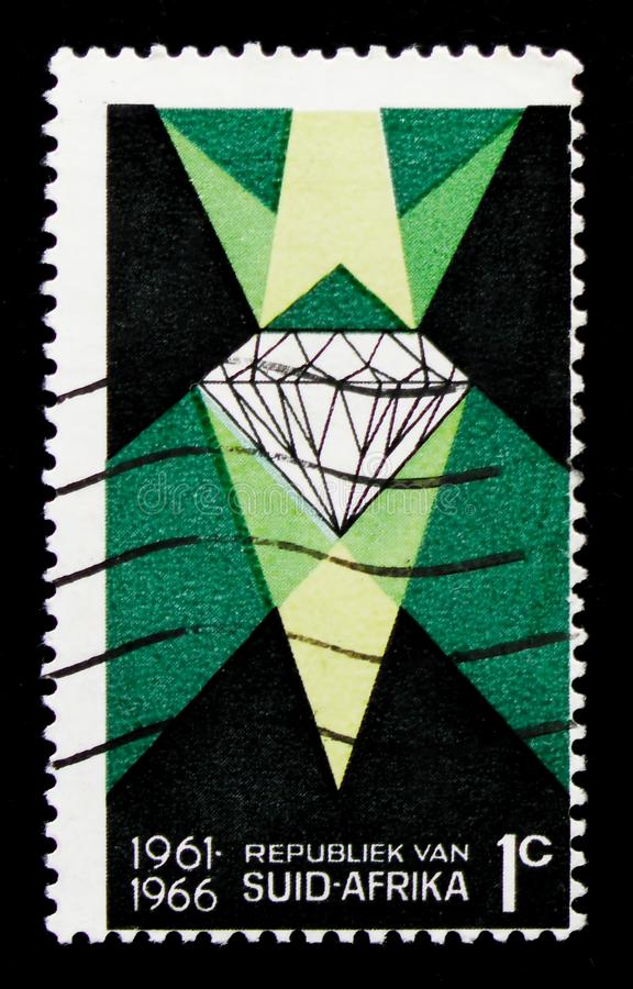 Diamond, 5 Year of South African Republic serie, circa 1966. MOSCOW, RUSSIA - OCTOBER 1, 2017: A stamp printed in South Africa shows Diamond, 5 Year of South royalty free stock images