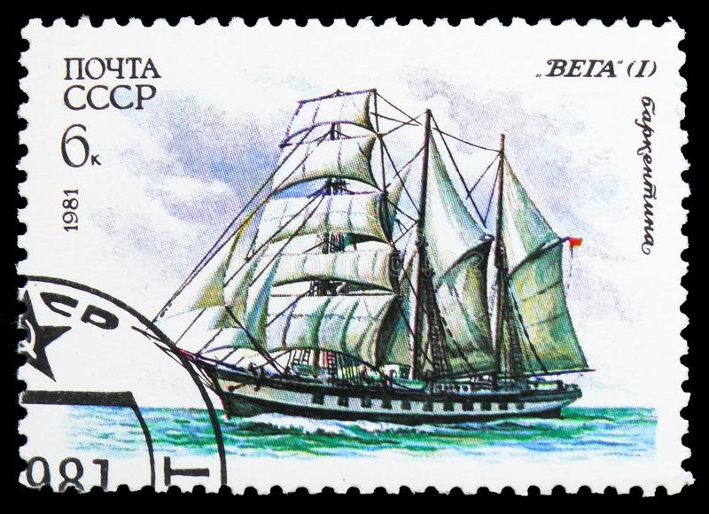 Three-masted barquentine `Vega`, Cadet Sailing Fleet of the USSR serie, circa 1981. MOSCOW, RUSSIA - OCTOBER 21, 2018: A stamp printed in USSR Russia shows Three royalty free stock photo