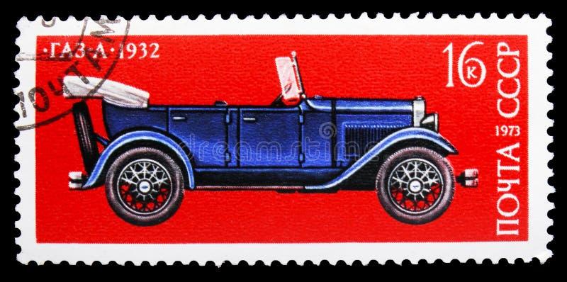 Tourer GAZ-A (1932), History of Soviet Motor Industry serie, circa 1973 stock image