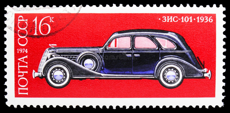 ZIS-101, 1936, Soviet Automotive Industry serie, circa 1974 royalty free stock photography