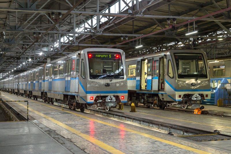 Moscow, Russia - October 27, 2017: Subway train metro depot Krasnaya presnya stock photos
