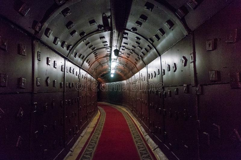 Moscow, Russia - October 25, 2017: Tunnel at Bunker-42, anti-nuclear underground facility built in 1956 as command post royalty free stock photo