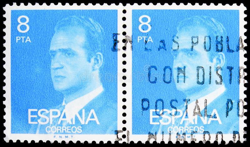 Two postage stamps printed in Spain shows King Juan Carlos I, 1976-1984 serie, circa 1977 stock images