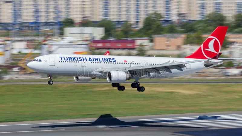 Moscow,Russia-07/02/2018:The passenger plane lands at Vnukovo International Airport VKO in Moscow. Airbus A330 registration number TC-JIS, Turkish Airlines lands royalty free stock images
