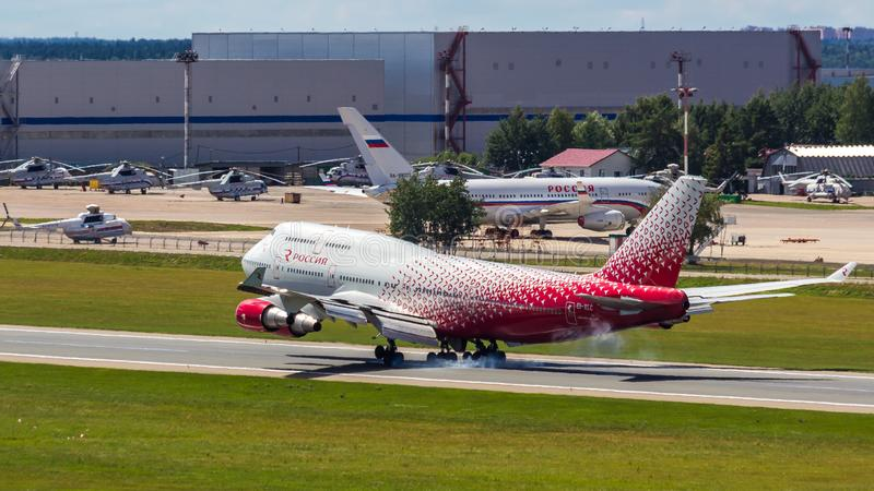 Moscow,Russia-07/02/2018:The passenger plane lands at Vnukovo International Airport VKO in Moscow. Boeing 747 registration number EI-XLC, Rossiya airlines lands stock photo