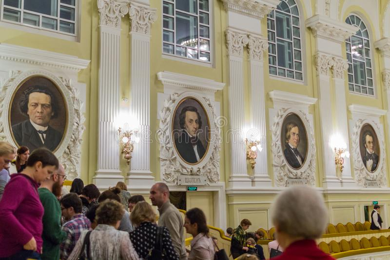 Portraits of classical composers on the wall of Moscow Conservatory. Interior of Moscow Conservatory. 2019.01.19, Moscow, Russia. Portraits of classical royalty free stock photos